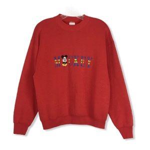 Disney Embroidered Crewneck Sweater Large